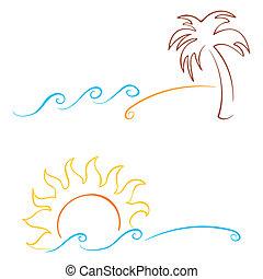 Summer symbols - Tropics symbols with palm sun and sea