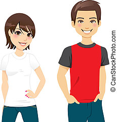 Front view of a teen couple wearing white and red and black t-shirt