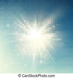 Summer template warm spring sun rays burst with lens flare. EPS 10