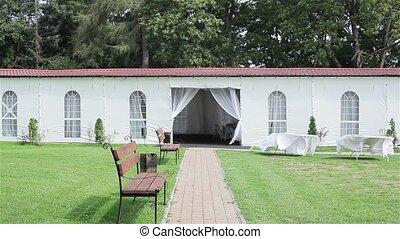Summer tent restaurant for wedding
