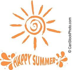 """summer!"""", text, abbildung, zeichen, vektor, """"happy, sonne"""