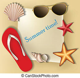 Summer text frame with shells, stars and flip flop on sand...