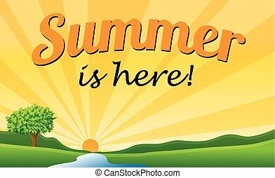 Summer text - Summer is here with sun starburst