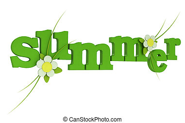Summer Text with flower on white background