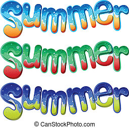 Summer texts - Illustration of the summer texts on a white...