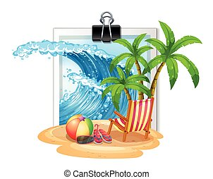 Summer theme at seaside on photoframe