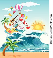 Summer theme with big waves and sunshine
