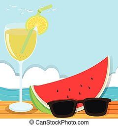 Summer theme with cocktail and watermelon