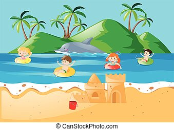 Summer theme with kids swimming in ocean