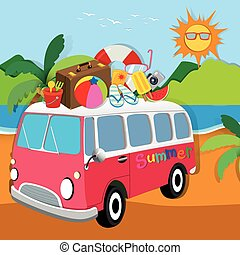 Summer theme with luggages on van