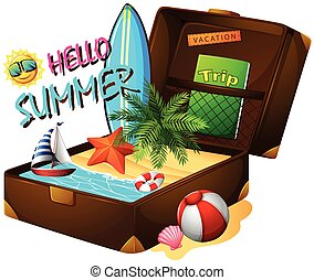 Summer theme with suitcase and ocean