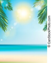 Summer time at the beach with coconut leaf on top vertical