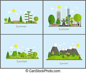 Summer Time Background Set in Modern Flat Design  Illustra