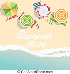 Summer Time Background. Sunny Beach in Flat Design Style