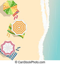 Summer Time Background. Sunny Beach in Flat Design Style Vector