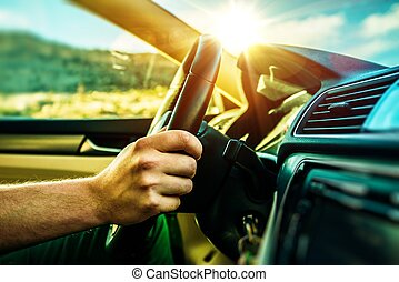 Summer Time Car Trip. Car Traveling. Men Driving Down the...