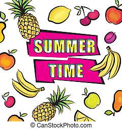 Summer time card background. Tropical fruit set pattern