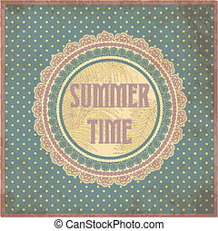 Summer time card in vintage style,
