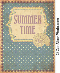 Summer time card with shell, vector