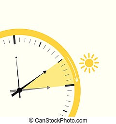 summer time change for daylight saving with sun on white background
