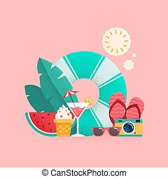 Summer time colorful banner design.