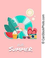 Summer time colorful flyer design.