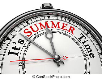 summer time concept clock isolated on white background with clipping path