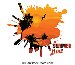Summer time design poster in form of blot, vector...