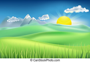 Illustration of summer landscape with sun, hills, and mountains