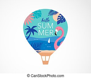 Summer time fun concept design. Creative background of landscape, panorama of sea and beach on air balloon. Summer sale, post template
