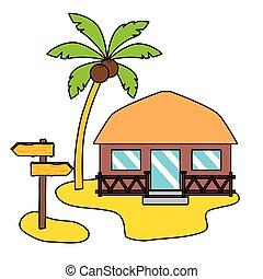 summer time holiday bungalow beach palm signal vector...