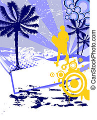 summer time - holidys - illustration of a surfer on an...