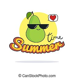 Summer Time illustration. Cute pear cartoon character