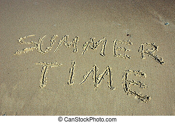 "Summer time - Inscription "" SUMMER TIME "" on sandy beach"
