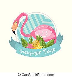 Summer time label, design element with palm leaves, flowers, pineapples and flamingo vector Illustration