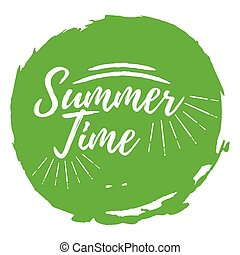 Summer Time label. Font with Brush. Summer and Beach badges. Vector illustration icon with Sunburst