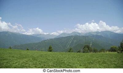 Summer time Mountain nature panoramic landscape in caucasus...