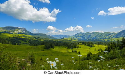 Summer time mountain nature reservation panoramic landscape near Habkern, Switzerland. Time-lapse. 4k HDR