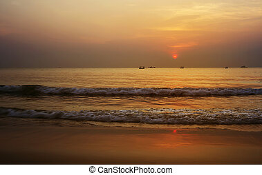 Summer time of beautiful gold sunrise at the beach Thailand