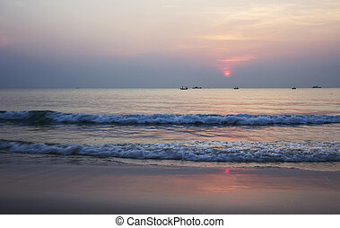 Summer time of beautiful sunrise at the beach Thailand
