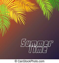 Summer Time Palm Leaf Background Illustration