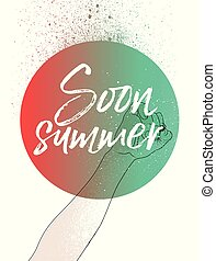 Summer time phrase typographical poster. Hand holding a pencil and writing. Vector illustration.