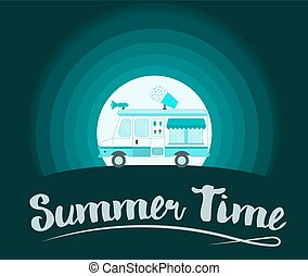 Summer Time Poster. Ice Cream Truck