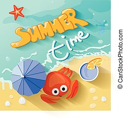 Summer time poster. Vector illustration
