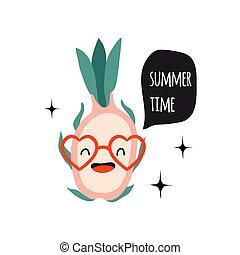 Summer time. Print with pitahaya