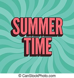 Summer time retro poster. Vector ty