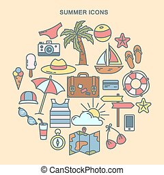 Summer Time. Set of Summer Icons. Travel Background. Vector illustration