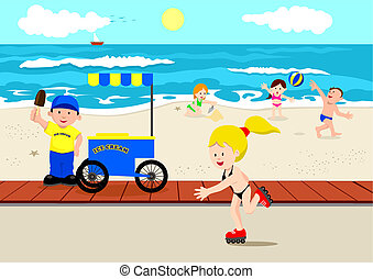 Summer Time - Stock vector of beach atmosphere in cartoon