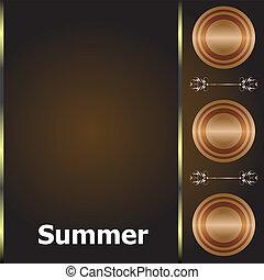 Summer time. summer word on golden luxury background, summer holidays