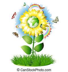 Sunflower with globe